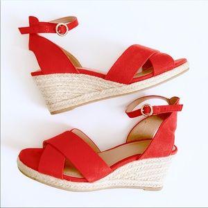 H&M Red Wedge Heel Sandals